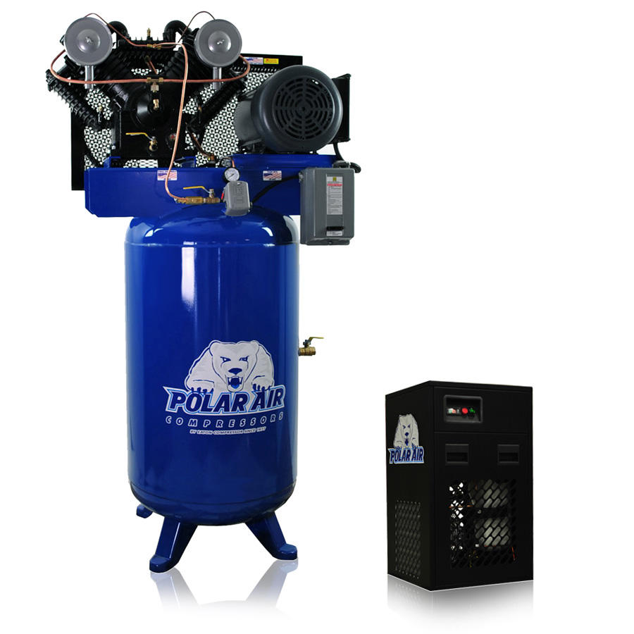 10hp piston air compressor with 58 cfm dryer