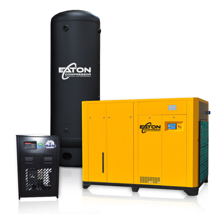 125 HP Rotary Screw Air Compressor with Dryer 660 Gallon Tank Package