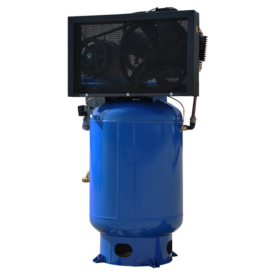 15hp piston air compressor with 120 gallon tank rear view
