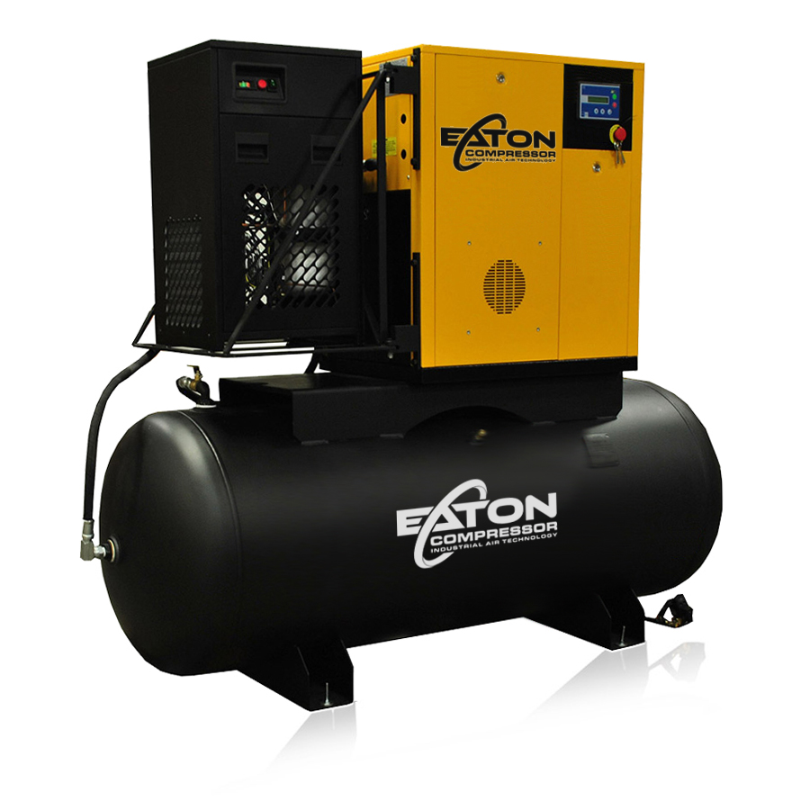 15 HP Rotary Screw Air Compressor with Dryer-Package 240 Gallon Tank