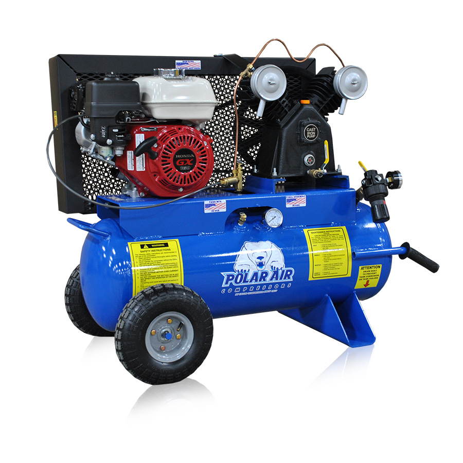 5.5HP Air Compressor with 17 Gallon Tank Gas Powered Front View