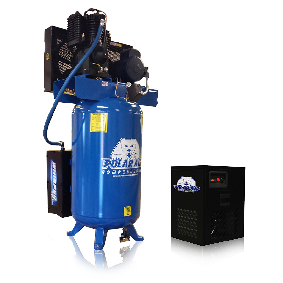 5hp quiet piston air compressor with dryer package