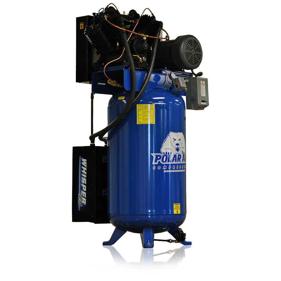 7.5hp quiet piston air compressor with 80 gallon tank