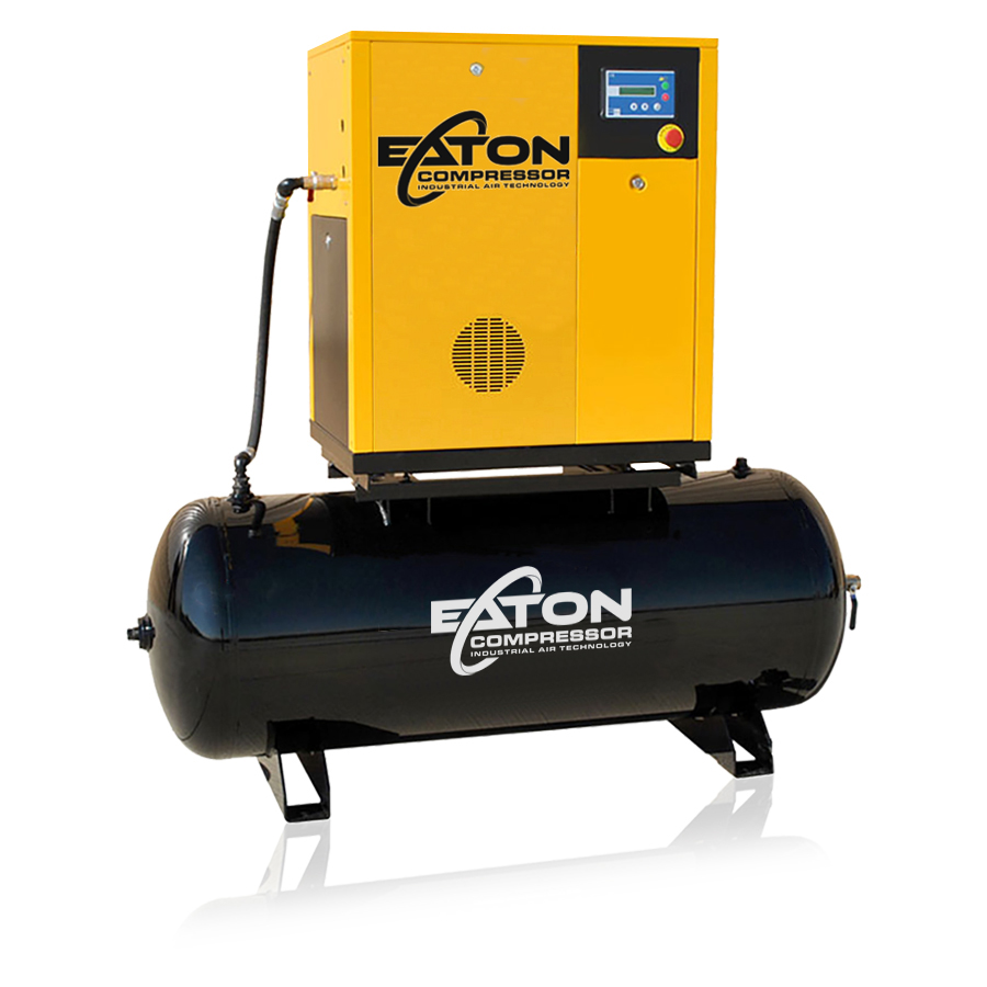 7 5 HP Rotary Screw Air Compressor with 80 Gallon Tank, Single Phase, Fixed  Speed
