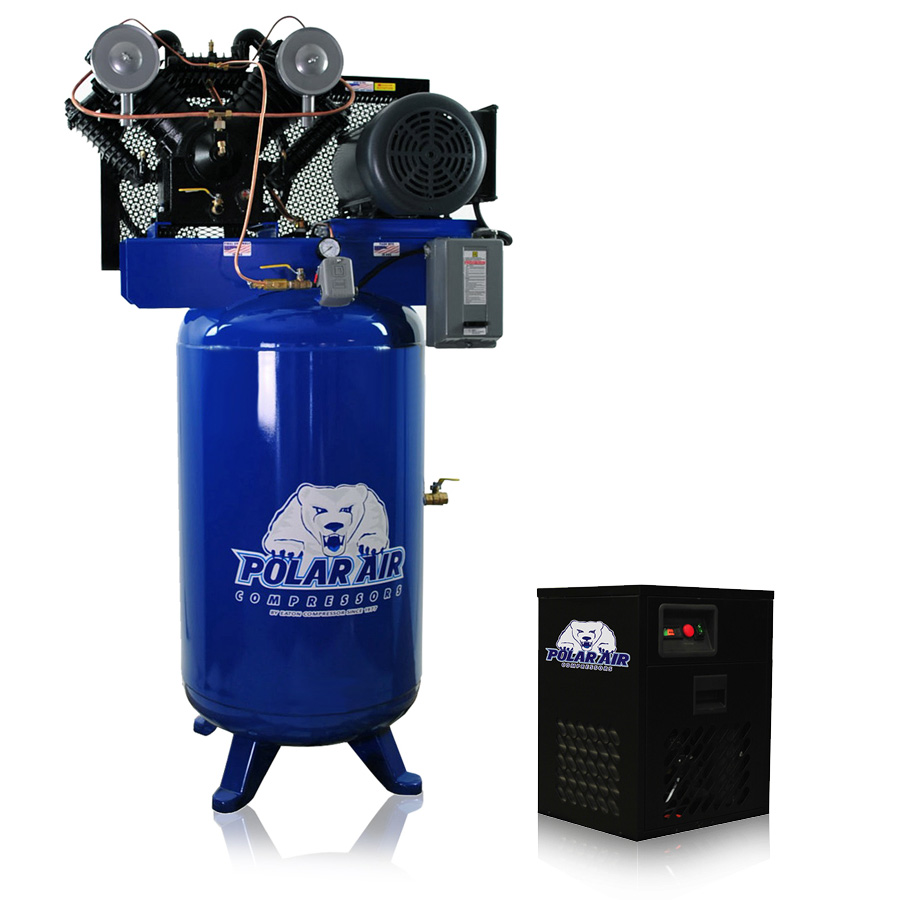 7.5hp piston air compressor with dryer package