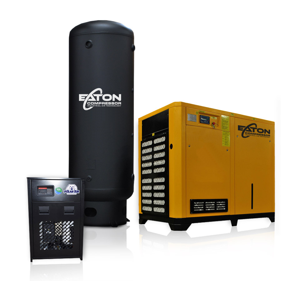 75 HP Rotary Screw Air Compressor with Dryer 660 Gallon Tank Package