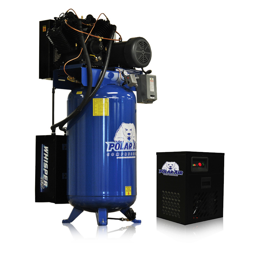 7.5 HP Piston Air ompressor with 80 Gallon Tank Dryer Package