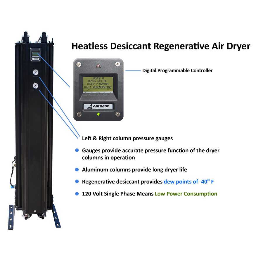 air compressor heatless desiccant regenerative air dryer schematic